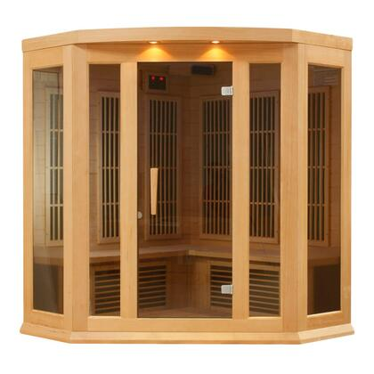 MX-K356-01-HEMLOCK 75 inch  Low EMF Far Infrared Corner Sauna with 3 Person Capacity  9 Carbon Heating Elements  Chromotherapy Lighting  LED Control Panels  SD Card