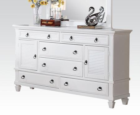 Merivale Collection 22425 62 inch  Dresser with 6 Drawers  2 Doors  Metal Hardware  Poplar and Pine Wood Veneer Materials in White