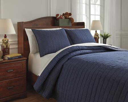 Capella Q771003F 3-Piece Full Size Quilt Set includes 1 Quilt and 2 Standard Shams  Machine Washable with Cotton and Polyester Blend Material in Denim