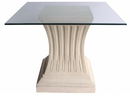 Legacy Collection TB-G1922-36 36 Square Dining Table with Limestone Construction  Glass Top and Simple Curves in Natural Beige