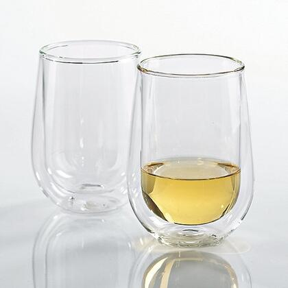 07070804 Steady-Temp Double Wall Chardonnay Stemless Wine Glasses(Set of
