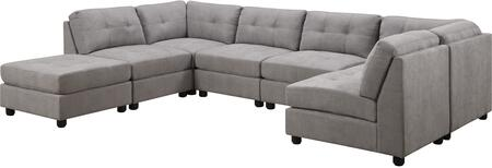 Claude Collection 5510045SECOTT 7-Piece Sectional Sofa with 2x Corner Chairs  4x Armless Chairs and Ottoman in