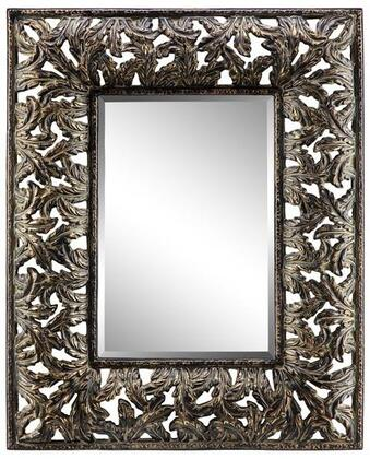 Flora Manor Collection 13458 76 inch  x 46 inch  with Open Leaf Design  Rectangular Shape and Gold Rub Through in
