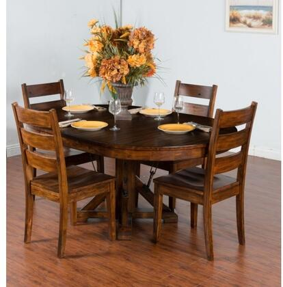 Tuscany Collection 1392VMDT4C 5-Piece Dining Room Set with Oval Extension Dining Table and 4 Chairs in Vintage Mocha