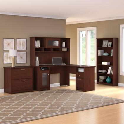 Cabot WC31430-03K-31-66-80 3-Piece Desk and Hutch Set with 5 Shelf Bookcase and Lateral File Cabinet in Harvest