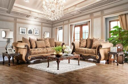 Nicanor Collection SM6407-SL 2-Piece Living Room Set with Stationary Sofa and Loveseat in Tan and
