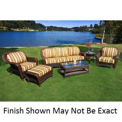 LEX-652-M Sea Pines 6 Pieces Seating Set With Sofa  Powder Coated Aluminum Frames  Outdoor All Weather Wicker  100% Spun Polyester Cushions & In