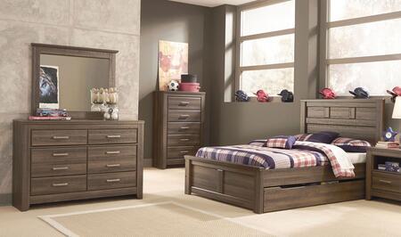 Juararo Full Bedroom Set With Panel Storage Bed  Dresser And Mirror In Dark