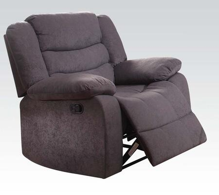 Jacinta Collection 51412 37 inch  Recliner with Tight Back Cushion  Tight Seat Cushions  Pillow Top Arms and Velvet Upholstery in Grey
