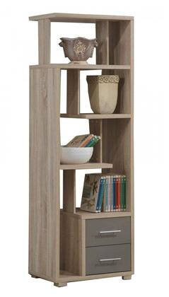 Helsa Collection 92094 23 inch  Bookcase with 2 Drawers  Metal Handles  Paper Veneer Materials and Medium-Density Fiberboard