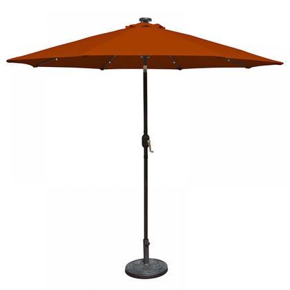 NU5424TC Mirage Fiesta 9-ft Market Umbrella w/ Solar LED in Terra Cotta