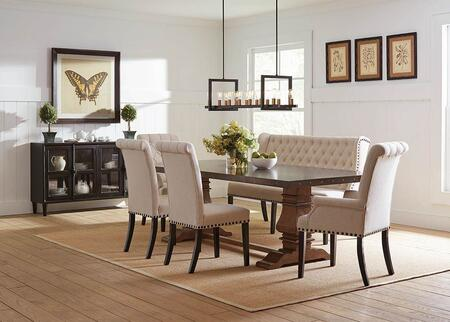 Mapleton Collection 190451-S7 7-Piece Dining Room Set with Rectangular Dining Table  2 Arm Chairs  2 Side Chairs  Bench and Cabinet in Rustic Amber and Vintage
