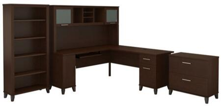 Somerset WC81810K-11-65-80 3-Piece Desk and Hutch Set with 5 Shelf Bookcase and Lateral File Cabinet in Mocha