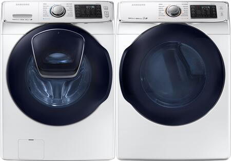 "Black Front Load Laundry Pair with WF45K6500AW 27"""" Front Load Washer and DV45K6500GV 27"""" Gas"" 840430"