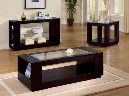 I 7811E End Table - Cappuccino Veneer with Glass