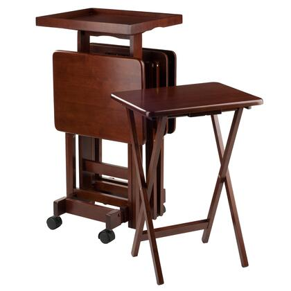 Isabelle 94828 6-PC Snack Table Set with Removable Wood Tray  Casters and 2 Locking Wheels in 810369