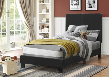 Mauve Collection 300558T Twin Size Platform Bed with Faux Leather Upholstery  Clean Line Design  Solid Wood Legs  Tall Headboard and Low Profile Footboard in