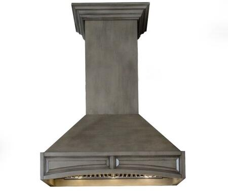 321GG-36 36 inch  Wooden Wall Mount Range Hood with 1200 CFM  Stainless Steel Baffle Filter  4 Speed Fans  Speed/Timer Panel  and with Crown Molding  in