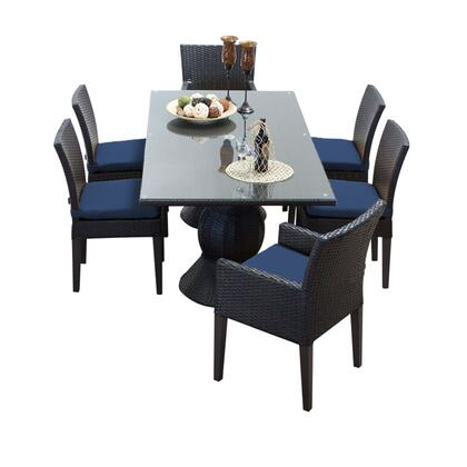 Napa-rectangle-kit-4adc2dcc-navy Napa Rectangular Outdoor Patio Dining Table With 4 Armless Chairs And 2 Chairs W/ Arms With 2 Covers: Wheat And