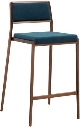 Clifton Collection BS1627P-TBLU Bar Stool with Low Backrest  Square Shaped Seat  Brushed Stainless Steel Legs  Footrest Support and Faux Leather Upholstery in