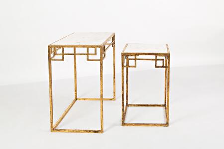 Global Archive Collection 1730-68 2 PC Nesting Tables with Marble Top  Rectangular Shape and Steel Base in Matte Gold