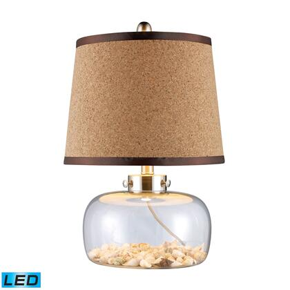 D1981-LED Margate LED Table Lamp In Clear Glass With Shells And Natural Cork