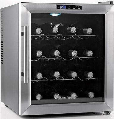 02720217 Wine Cooler with 16 Wine Bottle Capacity  Silent Cooling Technology  Adjustable Temperature  Push Button Control  Chrome Shelves  and Interior LED