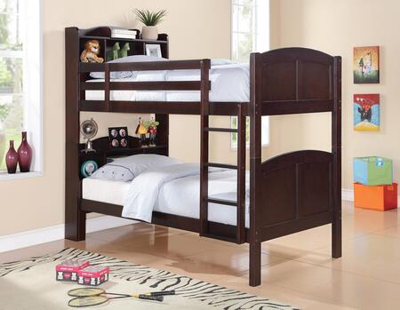 Parker Bookcase Collection 460442 Twin Size Bunk Bed with Bookcase Headboards  Separable Beds  Slat Kits Included  Pine and MDF Construction in