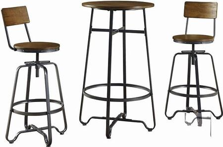182003 3-Piece Bar Set with Round Bar Table and 2 Bar Stools in Tobacco and Textured