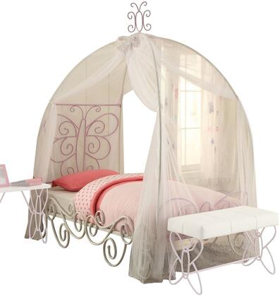Priya II Collection 30530T Twin Size Bed with Canopy  Slat System Included  Butterfly Design Headboard  Scrolled Design Side Rail and Metal Construction in