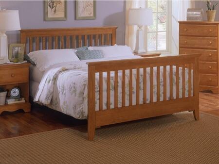 Carolina Oak 237450-3-971500 63 inch  Full Sized Bed with Slat Headboard  Footboard and Metal Slat-less Rails in Golden