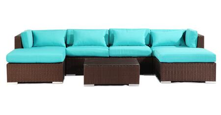 NAPALI7-ESP-TURQUOI Modern Outdoor Furniture Sofa Patio Modify-It Aloha Napali 7-Pc Set  Espresso Wicker/Turquoise Cushions By Kardiel