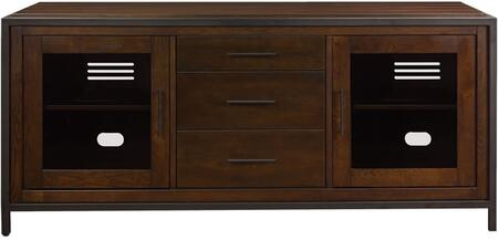 TC63-9943-O149 63 inch  Fulton Media Console with Adjustable Shelving  Tinted Tempered Safety Glass and CMS Cable Management System in