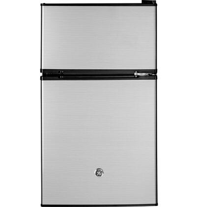 GDE03GLKLB Energy Star Qualified Compact Double-door Refrigerator with 3.1 cu. ft. Capacity  Tall bottle door storage  Can rack  2 Glass cabinet shelves and