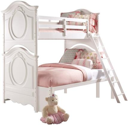 SweetHeart Collection 8470-BR-K29 Twin Over Full Size Bunk Bed with Ladder  Guardrails  Decorative Curves  Carved Detailing and Wood Construction in