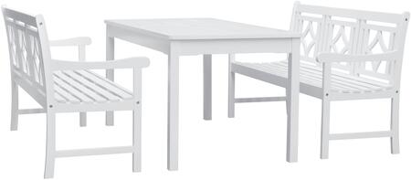 Bradley Collection V1336SET32 3 PC Outdoor Patio Dining Set with 2 Benches  Rectangular Shaped Table  Umbrella Hole  Slatted Contoured Seat and Acacia Solid