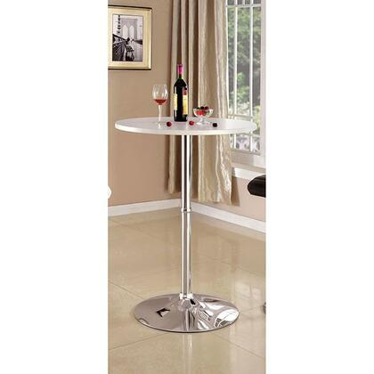 Nessa CM-BT6150WH Bar Table with Contemporary Style  Round Table Top  Chrome Base in 782845