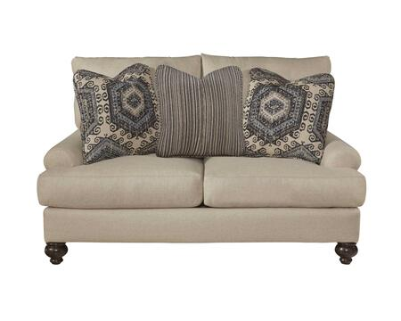 Westchester Collection 3232-02-2859-93/1855-16/2858-93 61 Loveseat With Turned Legs  Three Throw Pillows And Recessed Rolled Arms In
