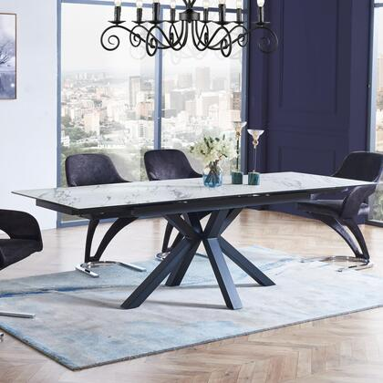 Global Furniture USA D2691DT Dining Table with Clear Glass Top Black Leg in Faux Marble Texture and Finish Tempered