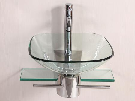WF-05 Modern Wall Mount Bathroom Vanities Square Glass Bowl Vessel Sink