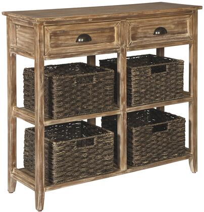 """Oslember_Collection_A4000142_34""""_Console_Sofa_Table_with_2_Fixed_Shelves__4_Removable_Woven_Baskets__2_Drawers__Casual_Style__Veneers__Wood_and"""