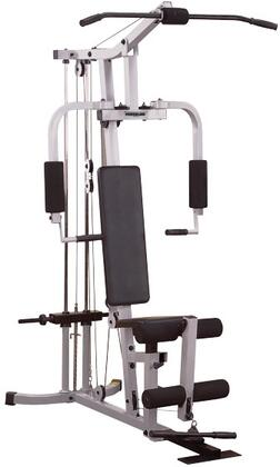 PHG1000X Powerline Hardcore Gym with Lat Pulldown  Ab Crunch  Leg Extension  Chest Press and Seated Row Stations in Black and