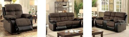 Hadley I Collection CM6870-SLR 3-Piece Living Room Set with Motion Sofa  Motion Loveseat and Recliner in Brown &