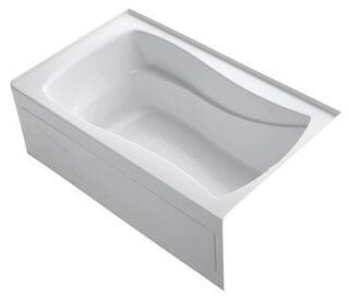 K-1242-RAW-0 White 60x36x20 Alcove Apron-Front Acrylic Soaking Bath Tub With Bask Heated Surface  Tile Flange And Right