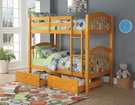 Heartland Collection 02359DRW Twin Over Twin Bunk Bed with 2 PC Drawers  Right Facing Front Ladder  Easy Access Guard Rail  Slat System Included and Wood