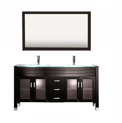 8120-ESPRESSO Amriel 59 inch  Double Vanity In Espresso With Glass Vanity Top In Aqua And