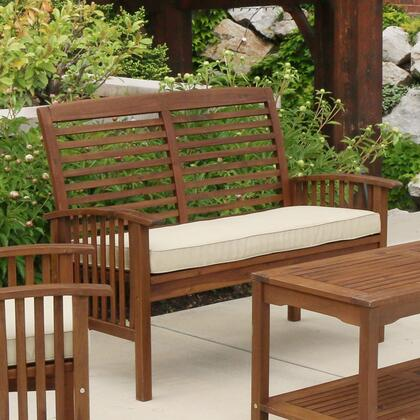 OWLSDB Acacia Wood Patio Loveseat Bench - Dark