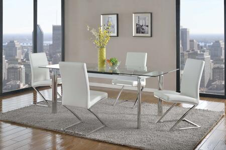 TARA-CLR-JADE-WHT TARA DINING Pop-up Extension Clear Glass Dining Table with 4 White