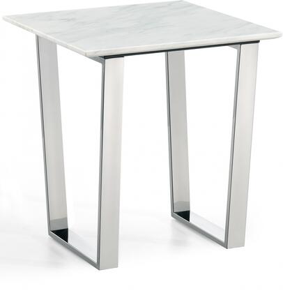 Carlton Collection 235-E 20 inch  End Table with White Marble Top  Square Shape and Stainless Steel Legs in Chrome