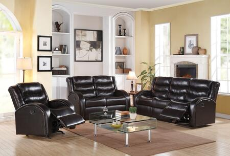 Noah Collection 50830SLR 3 PC Living Room Set with Sofa + Loveseat + Rocker Recliner in Espresso